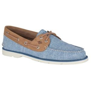 NEW Men's 9.5 Sperry A/O 2-Eye Canvas Boat Shoes